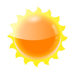 Sun Icon Isolated on white. Vector Illustration .