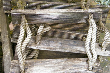 Old Wood and Rope Emergency Ladder