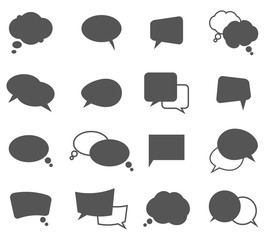 Cartoon speech bubbles in oval and rectangle shape