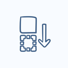 Movement of files sketch icon.
