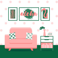 Vector illustration with living room