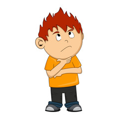 A thinking boy cartoon