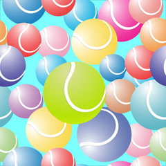 Beautiful background of colorful tennis balls on a blue background