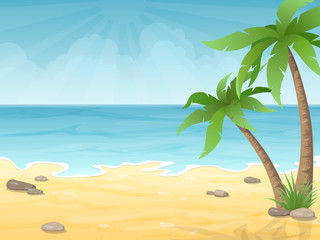 Tropical beach. Vacation nature background with palm tree, sand and sea.