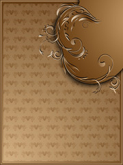 Vintage background with floral corner ornament in brown tones