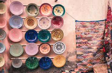 Plates and carpets in Marrakech