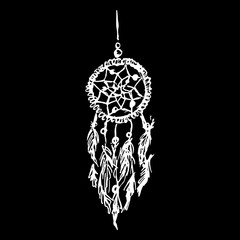 Monochrome black and white ethnic hand made feather dreamcatcher vector