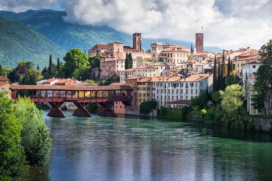 Beautiful view on the bridge of the Alpine in Bassano del Grappa, Veneto, Italy