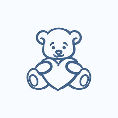 Teddy bear with heart sketch icon.