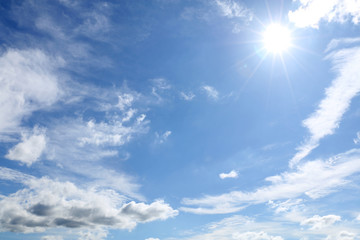 cloudy blue sky and the sunlight background