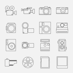 Set of camera line style icons vector illustration