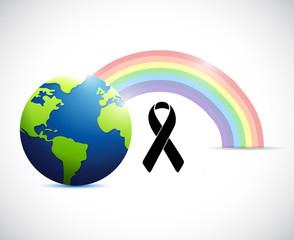 black ribbon rainbow flag and planet.