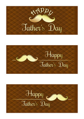 Set of stylish banners Father's Day. Happy Father's Day card. Gold lettering on a brown background. Vector illustration
