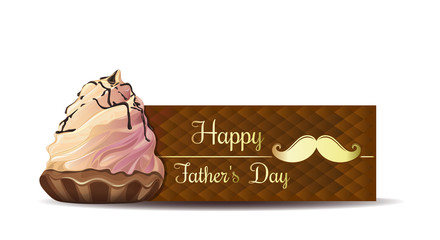 Father's Day greeting card. Gold greeting inscription `Happy Father's Day` on an abstract brown background. Vector illustration