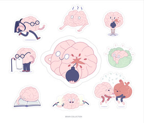 Brain stickers education and stress printable set, cartoon vector isolated images with cutting path, a part of Brain collection