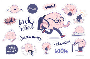 Brain stickers education and stress printable set, cartoon vector isolated images with cutting path and lettering, a part of Brain collection