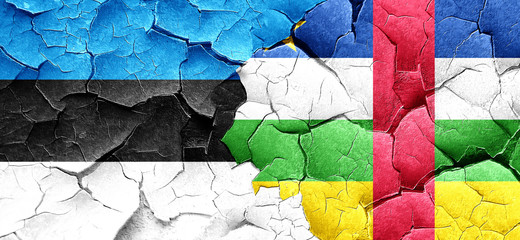 estonia flag with Central African Republic flag on a grunge crac
