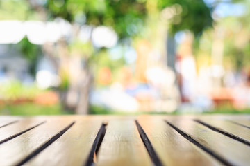 Empty top wooden table and abstract blurred and bokeh