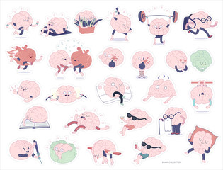 Brain stickers printable set, flat cartoon vector isolated images with cutting path, a part of Brain collection. Brain various activities - sporting, education, lesure, working, relationship, eating