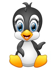 Cute cartoon penguin waving