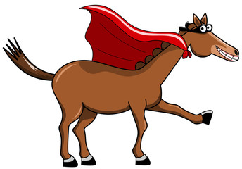 Confident smiling cartoon horse with mask and cape isolated