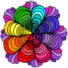 Abstract geometric rainbow flower petals on a white background separately