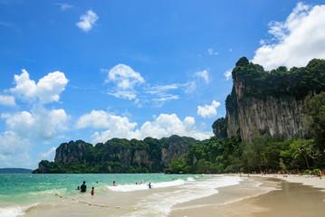 KRABI THAILAND - JULY 4: Tourists come to Phi Phi Island, Tourists swim at beach of Krabi on July 4 2015 at Phi Phi Island in Krabi, Thailand