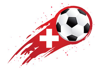 Soccer Ball With Abstract Switzerland Insignia Background