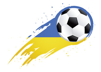 Soccer Ball With Abstract Ukraine Insignia Background