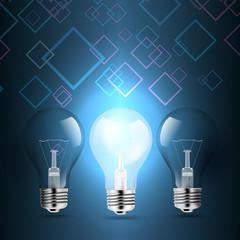 light bulb lamps conceptual illustration on rhombus background