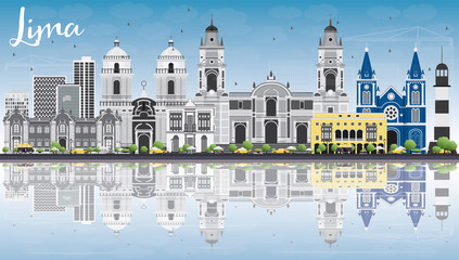 Lima Skyline with Gray Buildings, Blue Sky and Reflections.