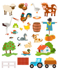 set of farming live animals, birds, objects, farmhouse, tress, scarecrow, pumpkins and tractor