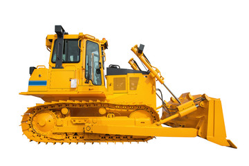 New modern loader or bulldozer - excavator isolated on white bac