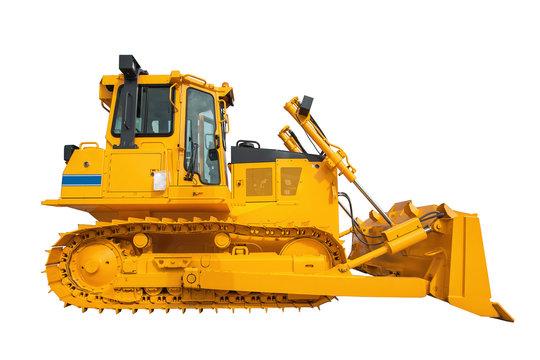 New modern loader or bulldozer - excavator isolated on white bac