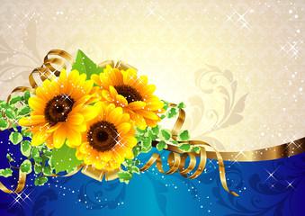 向日葵の夏らしい綺麗な背景