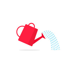 Watering can icon vector with poiring water flow