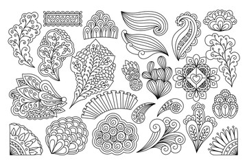 Ink drawing flowers. Vector set of doodle flowers