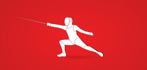 Fencing action graphic vector.