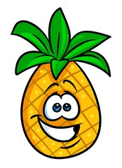 Cheerful fruit pineapple cartoon illustration isolated image character