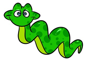 Green snake cartoon illustration isolated image animal character