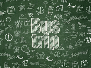 Tourism concept: Bus Trip on School board background
