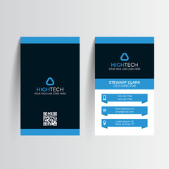 Business card template. Vector illustration. Blue and coral layout. Clean business card design