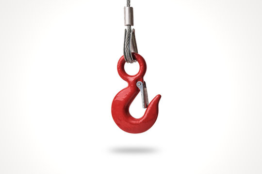 Red lifting crane hook isolated on white background