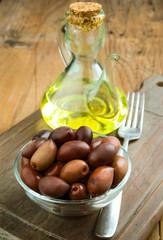 homemade olive oil on wood