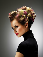 Beautiful woman with a stylish hairstyle
