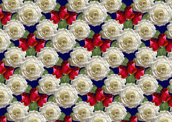 Seamless blue background of bouquet large white roses and red buds