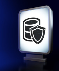 Database concept: Database With Shield on billboard background