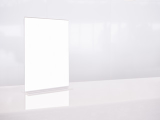 Mock up White template Menu frame on Table Counter in Restaurant