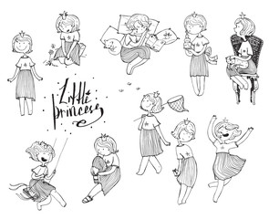 Set of black and white girls with crown on head. Playful cute princess, fun vector hand drawn illustrations. Various emotions and poses, sleeping, walking, reading, jumping, sitting. Isolated on white