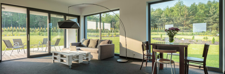 Obraz Modern interior with beautiful view - fototapety do salonu